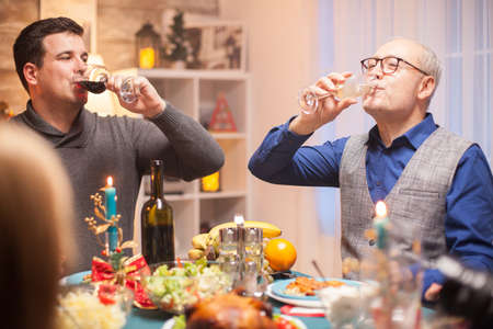 Happy senior man and his son drinking a glass of wine together at christmas family celebration. Фото со стока