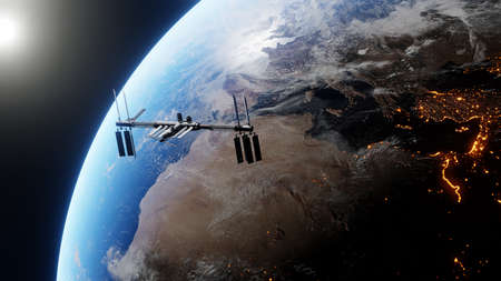 International space station orbiting the earth during sun drifts. Floating spaceship in the universe, shuttle into atmosphere.
