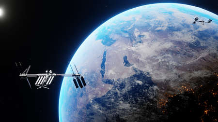 Space shuttle and space station orbiting realistic planet earth. International Space Station revolving over ocean and mainland. Exploration mission.