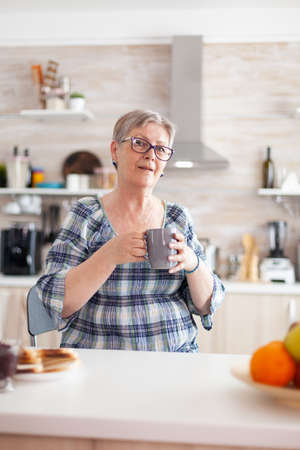 Winkled senior woman smiling at camera holding cup of coffee in kitchen during breakfast. Authentic portrait of relaxed elderly person in the morning, enjoying fresh warm drink, healthy adult face 写真素材