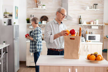 Elderly husband and wife taking out vegetables from grocery paper bag after arriving from supermarket. Cheerful happy family healthy lifestyle putting fresh fruits and groceries in refrigerator