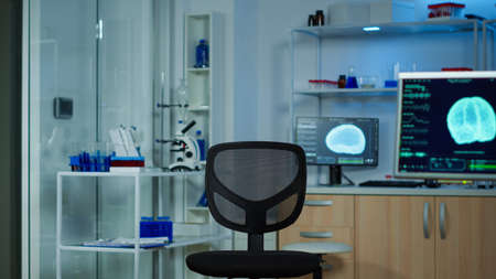 Neurological laboratory with nobody in it modernly equipped prepared for experiments development, examining brain functions, nervous system, tomography scan for scientific research.