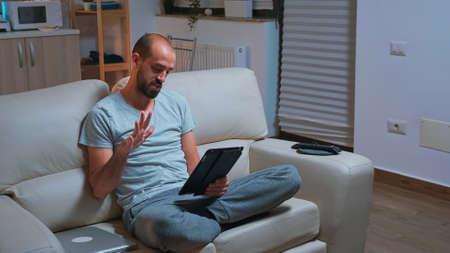Caucasian male using modern technology wireless Foto de archivo