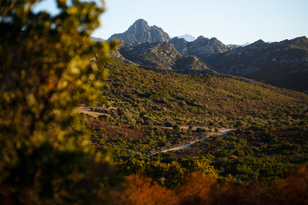 Amazing view of mountains of the Corsica island, France. Horizontal view. Фото со стока