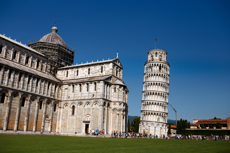 View of a leaning Tower of Pisa, Italy. Horizontal view.