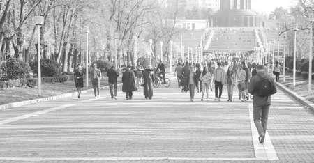 gente caminando: Carol Parc en Bucarest - la gente que camina en blanco y negro Editorial