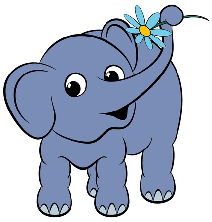 Cartoon funny elephant with a flower