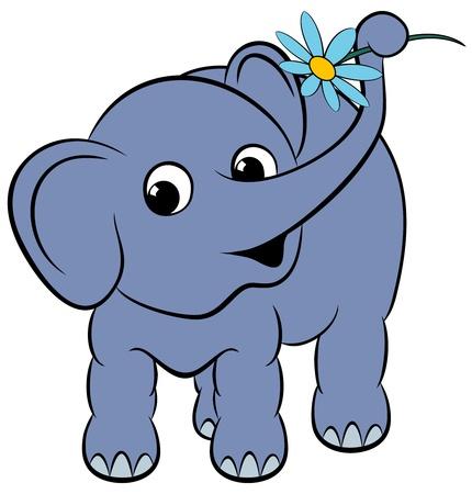 Cartoon grappige olifant met een bloem
