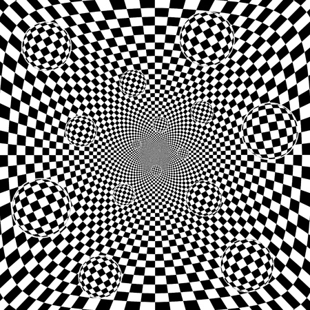 Abstract 3d black and white chess pattern background with balls Vector eps8