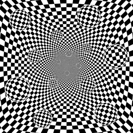 Abstract 3d schwarzen und weißen Schachbrettmuster Hintergrund mit Kugeln Vector eps8 Illustration