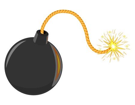 3d Isolated black cartoon bomb vector Vector