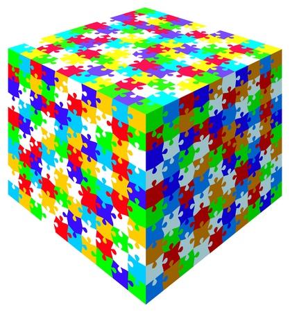 3d ベクトルのジグソー パズル カラフルなキューブ