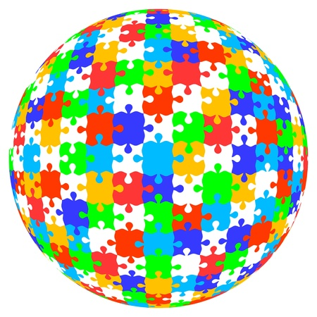 3d vector puzzle jigsaw ball in color Vector