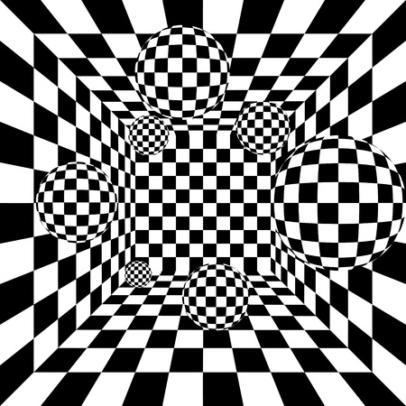 Abstract black and white chess background with balls Vector