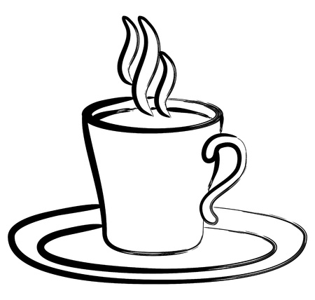 steaming: art black white coffee in cup