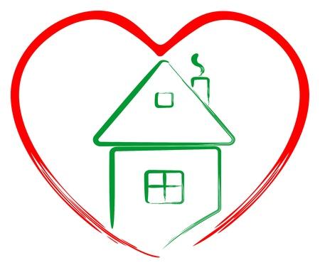 Art house in heart Ilustração