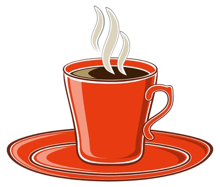 アート赤一杯のコーヒー