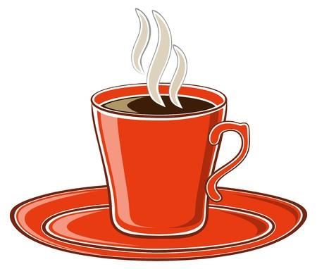 hot plate: Arte rojo taza de caf� Vectores