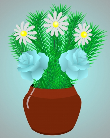 Flowers rose and camomile in a flowerpot  Vector
