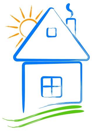 アイコンの家と太陽