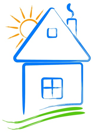 Icon house and sun  Illustration