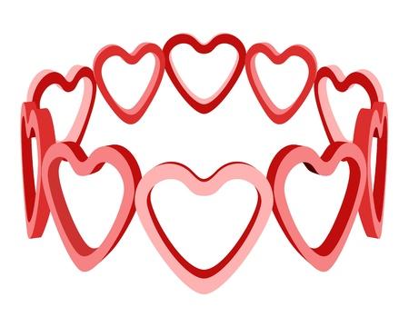 heart and crown: 3d amore cuore vettore corona isolato