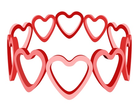 heart with crown: 3d love heart crown isolated vector