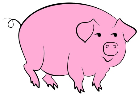 snouts: Art Icon pink pig isolated vector illustration