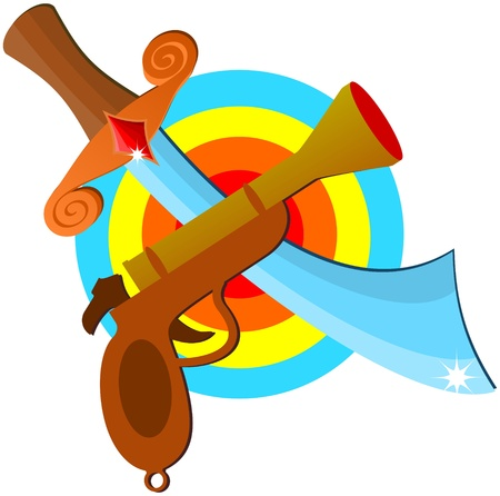 Pistol and sword target icon Vector