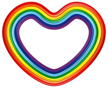 two stroke: Rainbow heart isolated Vector illustration