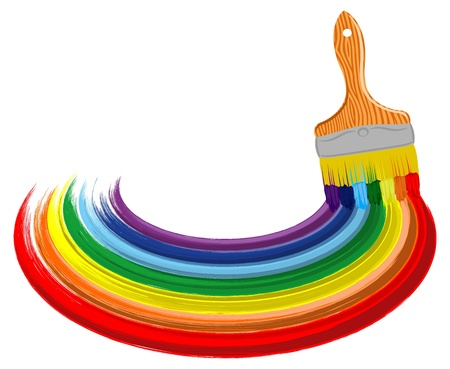 Arte abstracto del vector del fondo arco iris con el cepillo
