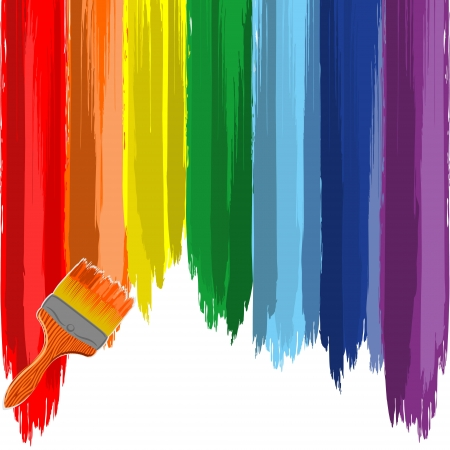 Art rainbow abstract vector background with brush Vector