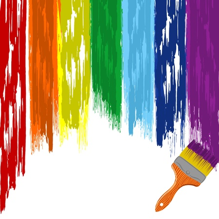 dripping paint: Art rainbow abstract vector background with brush 3