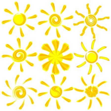 アイコン ベクトル ブラシ塗装太陽セット  イラスト・ベクター素材