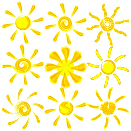 Icon vector brush paint sun set Stock Vector - 14810204