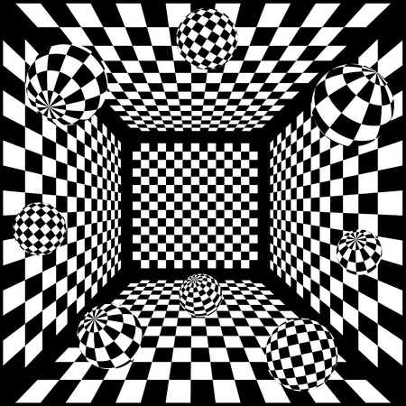 3D Abstracte zwart-wit schaken achtergrond met ballen