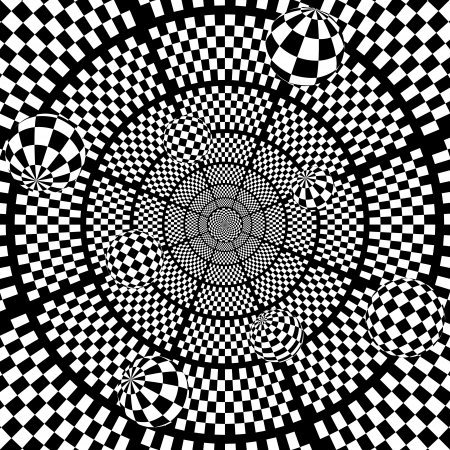 3D Abstract black and white chess background with balls illustration Vector