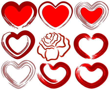 heart suite: Art drawing love heart set with rose Illustration