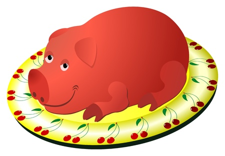 Cartoon fried pig on a plate Vector