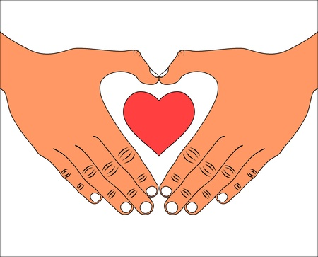 Hand with love heart icon
