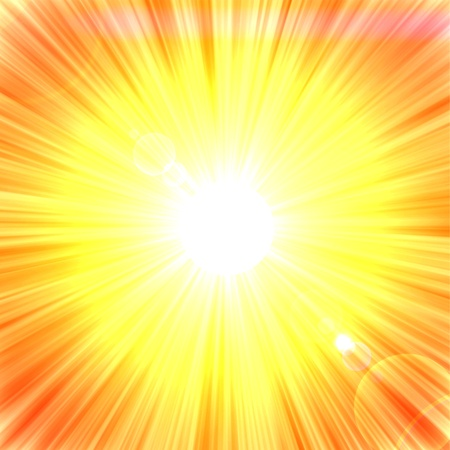 Summer background with a sun rays with lens flare