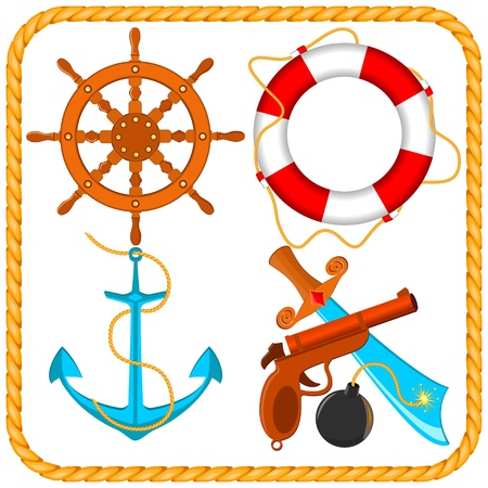 set of sea pirate items Vector