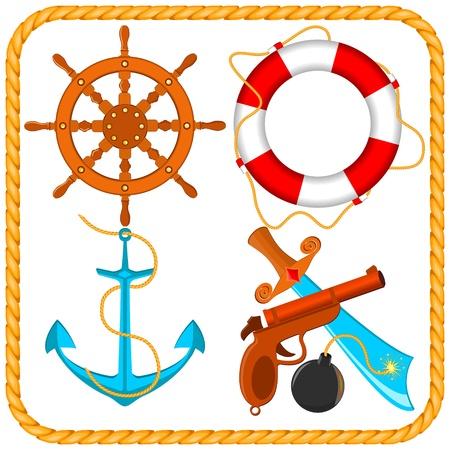 set van zee-piraat artikelen Stock Illustratie