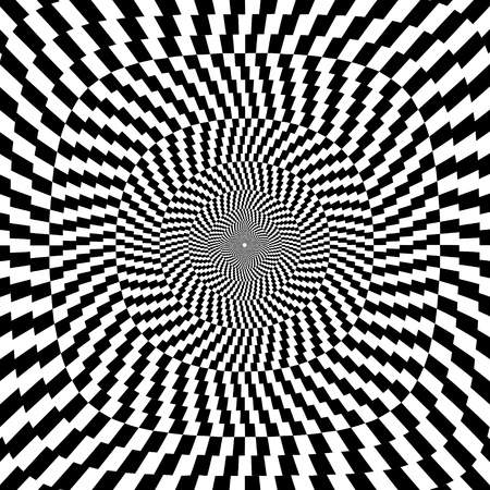 illustration of optical illusion black and white background Vector