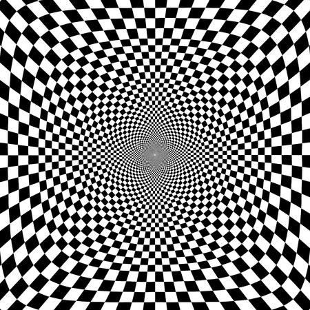 光学錯覚の黒と白のチェスの背景イラスト