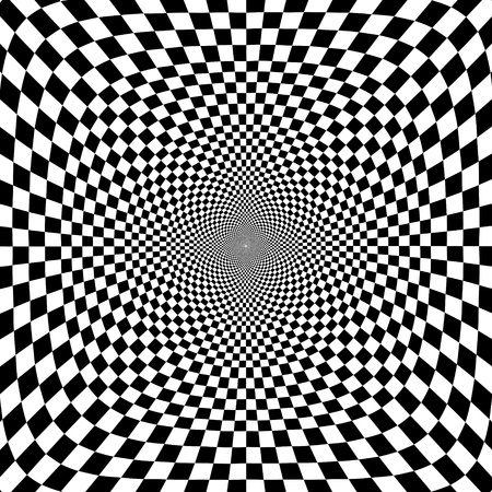 illustration of optical illusion black and white chess background