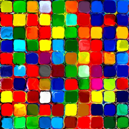 カラフルな抽象的な虹のタイル モザイク絵画幾何学的なパレットに 3 バック グラウンド パターン 写真素材