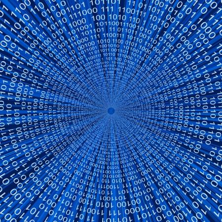 Abstract binaire code 3D vector lijn blauwe achtergrond