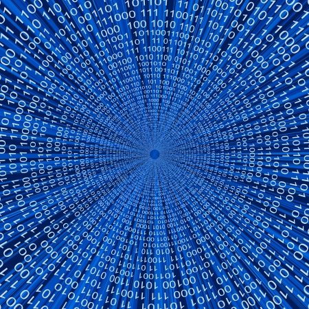 Abstract binary code 3D vector line blue background Illustration