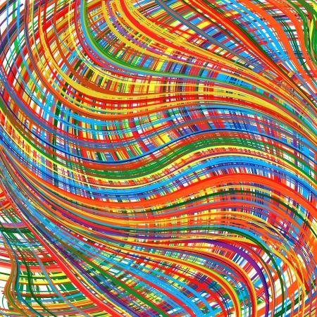 抽象芸術虹湾曲ライン カラフルなベクトルの背景 7